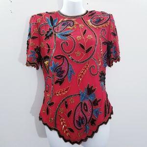 Laurence Kazar Vintage beaded silk top